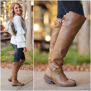 Tan Buckle Knee High Boots